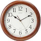 جراب Seiko ساعة حائط هادئة من يد ثواني بني غامق من البلوط الصلب