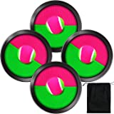 Aneco Toys Toss and Catch Paddle Game Set Disc Paddles and Toss Ball Sport Game with Storage Bag, 4 Paddles and 4 Balls