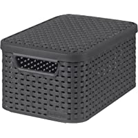 CURVER | Rangement Style Aspect rotin S + couvercle, Anthracite, Storage Others, 29,1x19,8x14,2 cm