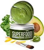 Gesichtsmaske mit Avocado & Superfoods 120 ml | Gesicht Polierer aus Meereslehm | Mitesserentferner | Gesichtsporen…