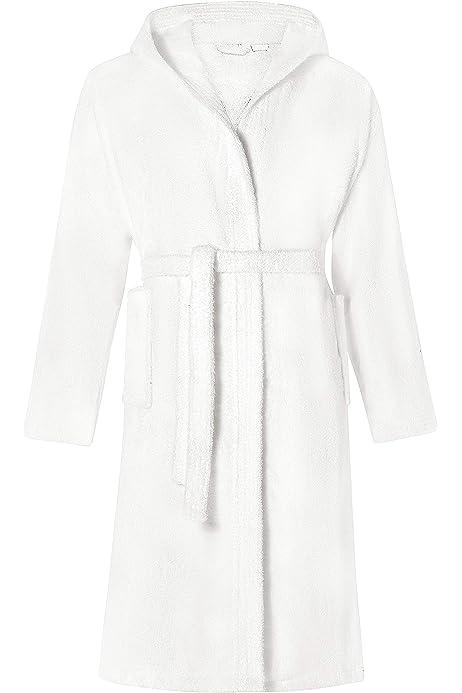 Comfortos - Albornoz para hombre y mujer, 100% algodón egipcio, con capucha, cuello de chal, bata de noche, perfecto para gimnasio, ducha, spa Blanco blanco S/M: Amazon.es: Ropa y accesorios