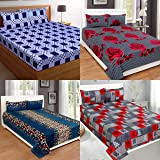 Amrange Microfiber Double Bedsheet Combo Pack of 4 Along with 8 Pillow Covers