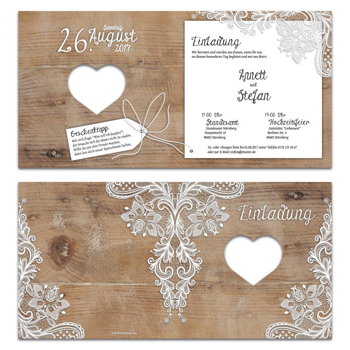 Lasergeschnittene Hochzeit Einladungskarten Rustikal Mit Weisser