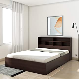 Amazon Brand   Solimo Queen Engineered wood Bed With Storage   Wenge Finish_Brown
