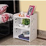 SS ARTS Engineered Wood Decorative Bed Side Lamp Table Bookshelf ,Matte Finish,Set Of 1,White