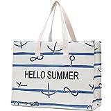 JANSBEN Strandtasche Damen XXL Shopper Schultertasche Canvas Beach Bag,Große Strandtasche 48L,Umhängetaschen,mit Reißverschlu