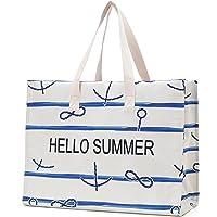 JANSBEN Strandtasche Damen XXL Shopper Schultertasche Canvas Beach Bag,Große Strandtasche 48L,Umhängetaschen,mit…