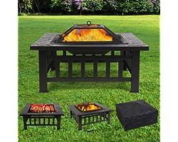 Brasero Exterieur 81*81*44cm,Brasero de Jardin,Foyer de Barbecue/Chauffage,Terrasse BBQ,Brasero Barbecue,avec Grill,Couvertur