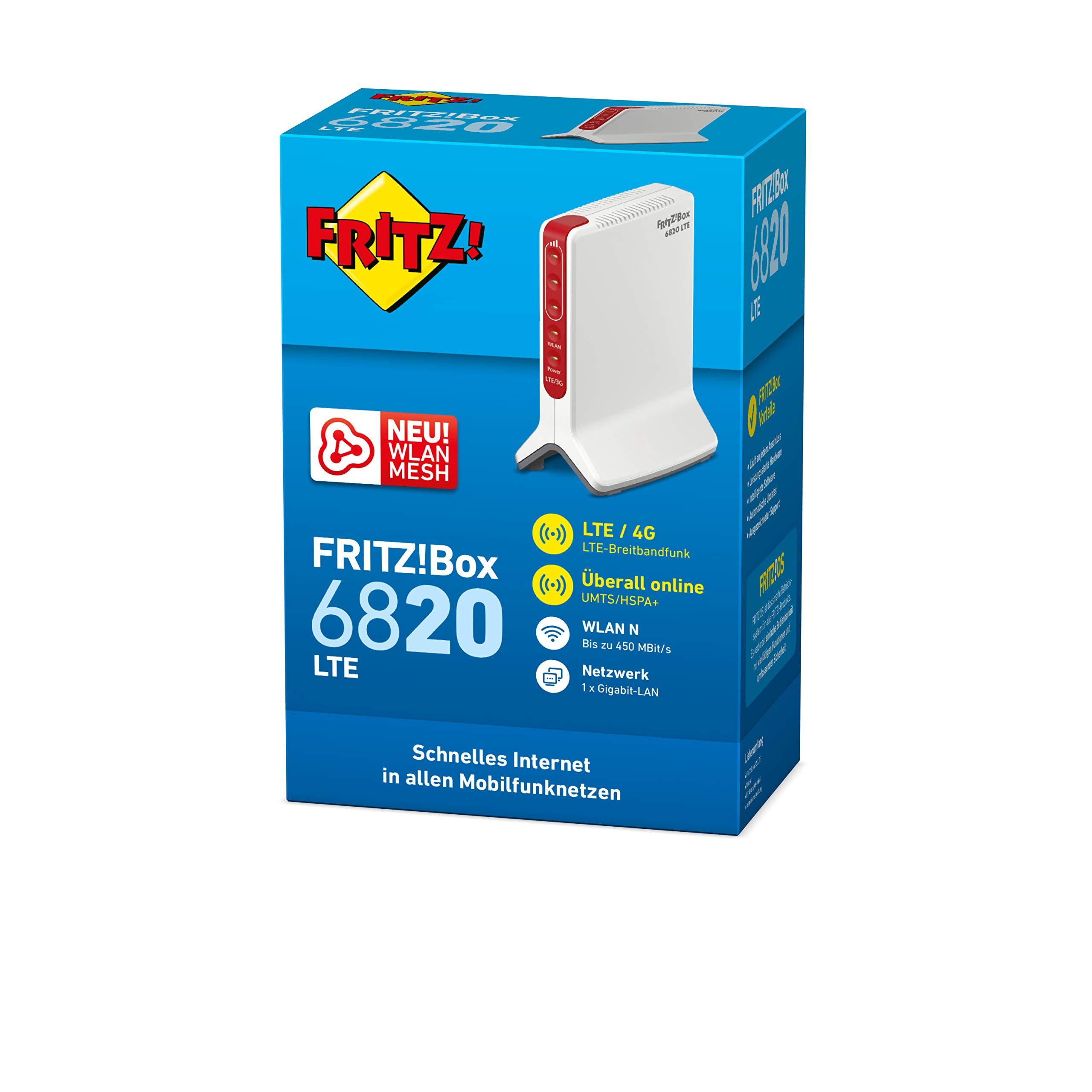 AVM FRITZ!Box 6820 (LTE (4G) und UMTS (3G), WLAN N bis 450 MBit/s, 1 x Gigabit-LAN, deutschsprachige Version)