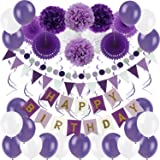 Zerodeco Décorations Anniversaire, Anniversaire Bannière Décoration Fête 43pcs en Happy Birthday Banderole, Pom Poms, Bandero