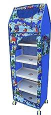LookNSnap Multipurpose Toy Box Kids Folding Wardrobe - 6 Shelves, Blue