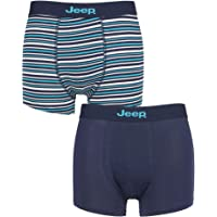 Jeep Mens Plain and Striped Fitted Bamboo Trunks Pack of 2
