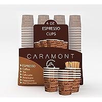 Caramont,4 Oz 200 Espresso Gobelets en Carton avec Agitateurs en Bois,Écologique et Jetables,Résistant à la Chaleur…