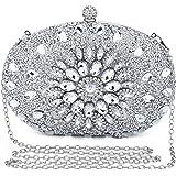 UBORSE Clutch Silber Desigual Tasche Kleine Glitzer Diamant Handtasche Silber Umhängetasche Ketten Schultertasche Damen Abend