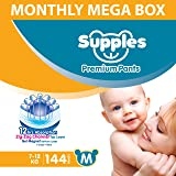 Supples Baby Diaper Pants, Monthly Mega-Box, Medium, 144 Count