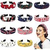 Winpok diademas para mujeres, 10pcs diademas de pelo anchas de punto bandas para el pelo de tela, diademas elásticos para la