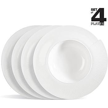 """'4X Assiette à pâtes/Assiette à salade/assiette en porcelaine/Assiettes creuses en forme de coquillage en porcelaine """"GENOVA Ø 28cm"""