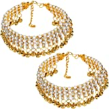 Narya Traditional Charms Ghungroo Non-Precious Metal Gold Plated Alloy Anklet for Women and Girls Combo of 2 Pair