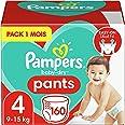 Pampers Couches-Culottes Baby-Dry Pants Taille 4 (9-15kg) Maintien 360° pour Éviter les Fuites, Faciles à Changer, 160 Couche