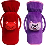 Cutieco Baby Feeding Bottle Cover with Attractive Cartoon, Purple and Red (Pack of 2)