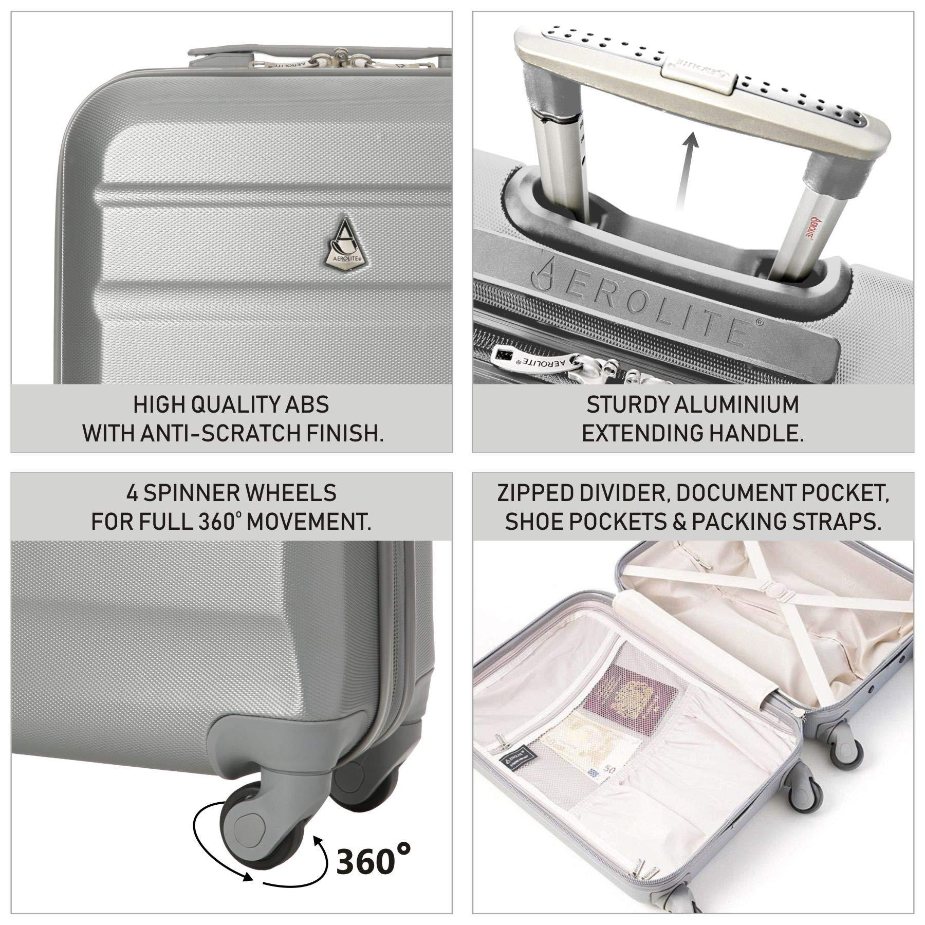 Aerolite ABS Bagage Cabine Bagage /à Main Valise Rigide L/égere /à Serrure /à Combinaison TSA Int/égr/ée Noir pour Ryanair Air France et Plus easyJet