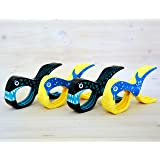 4 Stück Tuuli Beach Towel Clips - Hochwertige Strandtuchklammern im Premium Design (Sharky Türkis/Delphin Blau)