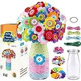 LEHSGY Flower Craft Kit for Kids - Colorful Button & Felt Flowers, Vase Art Toy & Craft Project for Children, DIY Activity Gi