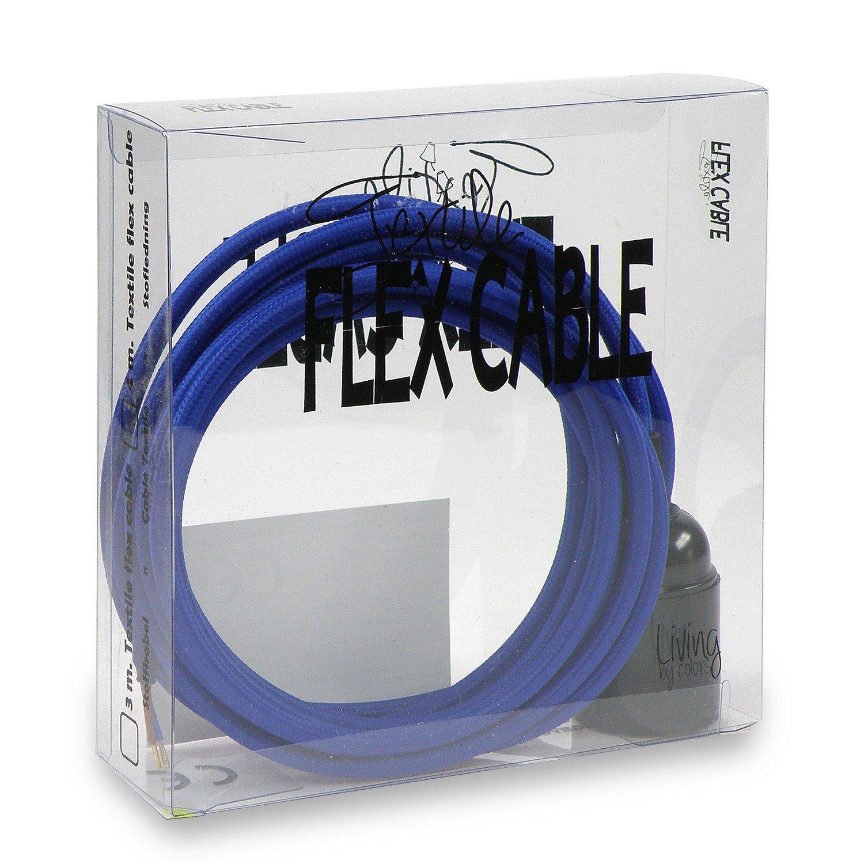 Cavo in tessuto Set blu con attacco in bachelite nera e 3metri di cavo