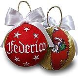 Crociedelizie, pallina di Natale personalizzata 8 cm nome ricamato decorazione natalizia personalizzabile rosso bianco e lure