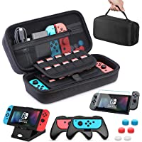 HEYSTOP Case for Nintendo Switch, 11 in 1 Nintendo Switch Carry Case Come with 2 Joy-con Grips for Nintendo Switch, Adjustable PlayStand, Tempered Glass Screen Protector with 6 Thumb Grip Caps