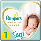 Pampers Premium Care Diapers, Size 1, New Born, 2-5 Kg - 60 Diapers