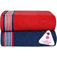 Casa Copenhagen He & She Collection Cotton Bath Towel Set - Iris Blue & Racing Red