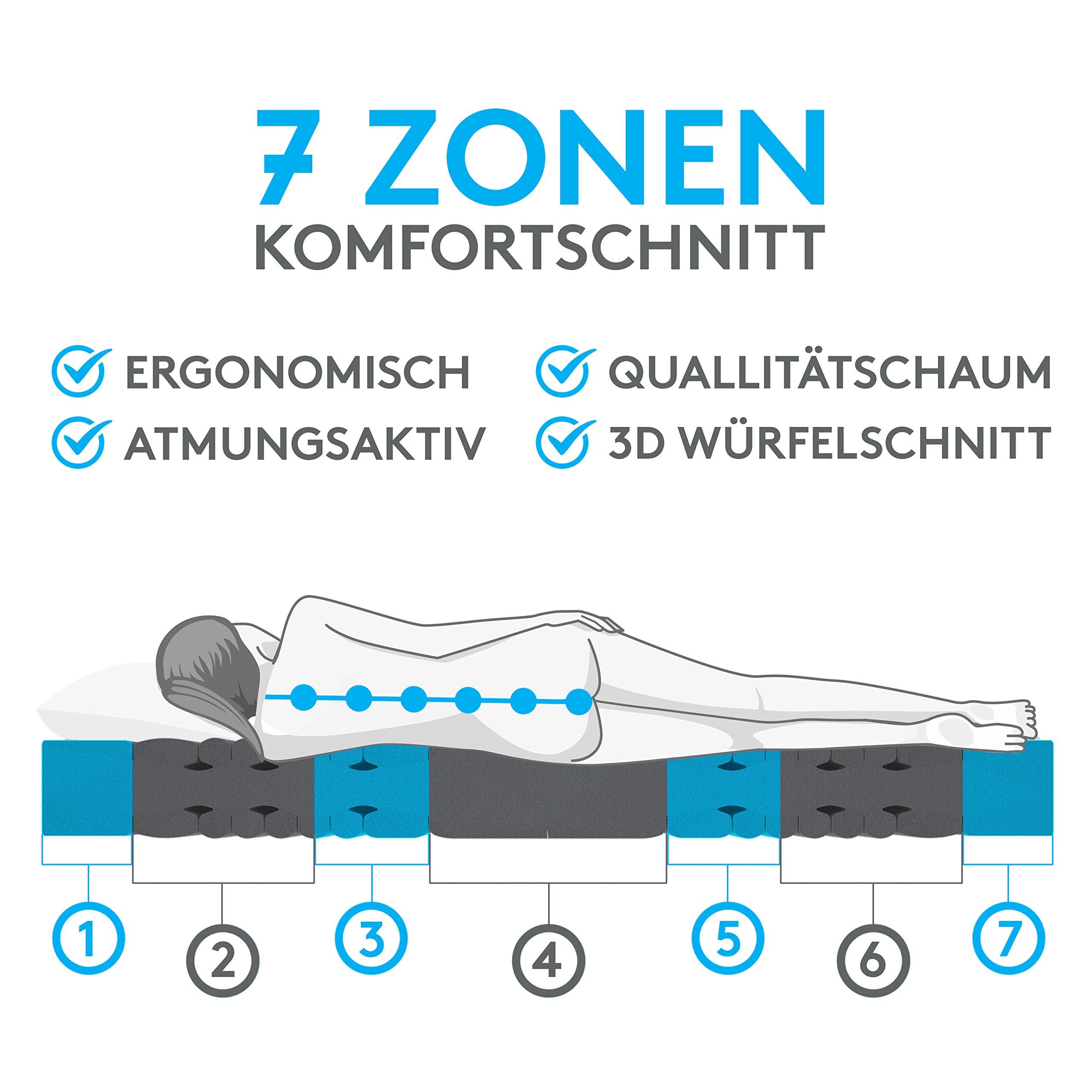 BELVANDEO I Orthopädische Kaltschaummatratze mit 7-Zonen - 80x200 cm I H2 - bis 80-kg I 18 cm hoch I Flexion Plus I…