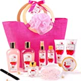 Coffret Bain au Parfum de Fleurs de Cerisier, 11 PCS Coffret Cadeau Femme, Comprend Sel de Bain, Gel Douche, Bain Moussant, B