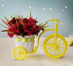 TIED RIBBONS Tricycle Shape Flower Vase with Artificial Flower Bunches