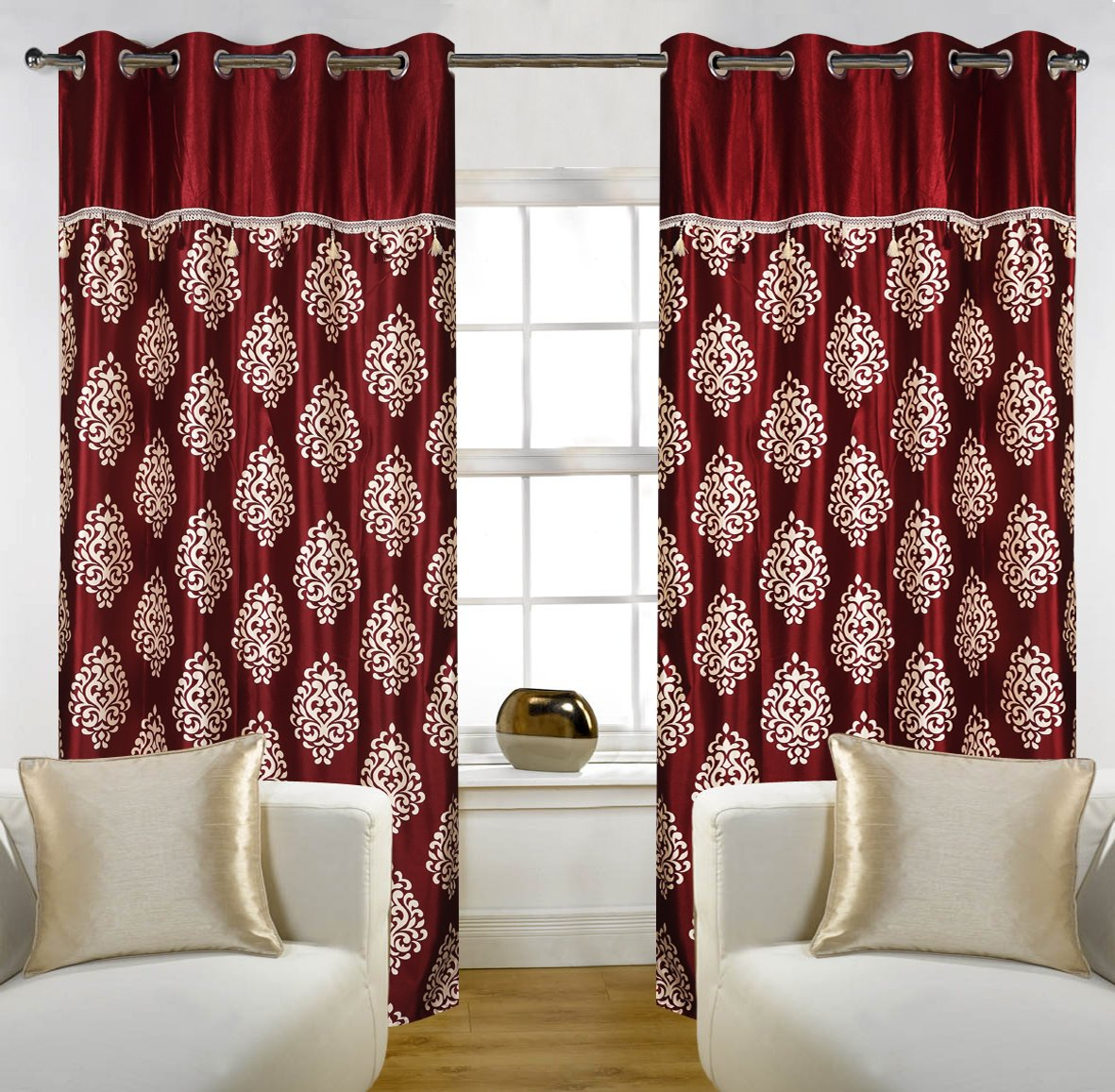 Buy Home Candy Eyelet Fancy Polyester 2 Piece Door Curtain Set - 84\