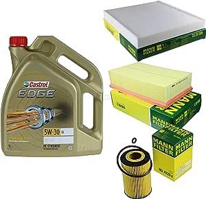 Filter Set Inspektionspaket 5 Liter Motoröl Castrol Edge Titanium Fst 5w 30 Ll Mann Filter Innenraumfilter Luftfilter Ölfilter Auto