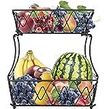 ceuao Fruitetagère, fruitschaal metaal voor het bewaren van de keuken, decoratieve fruitmand, kan als bananenhouder, groentem