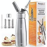 Runesol Sifon de cocina para espumas Profesional, Dispensador de crema batida de aluminio premium, sifón de nata con 3 boquil