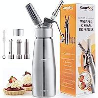 RuneSol® Home Whipper Siphon à crème chantilly professionnel avec 3 douilles en acier inoxydable. Siphons compatible…