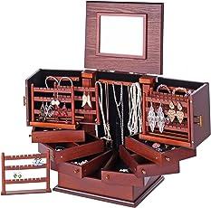 ROWLING Schmuckkasten Holz Schmuckkästchen Schmuckkoffer Groß 7 Schubladen MG018