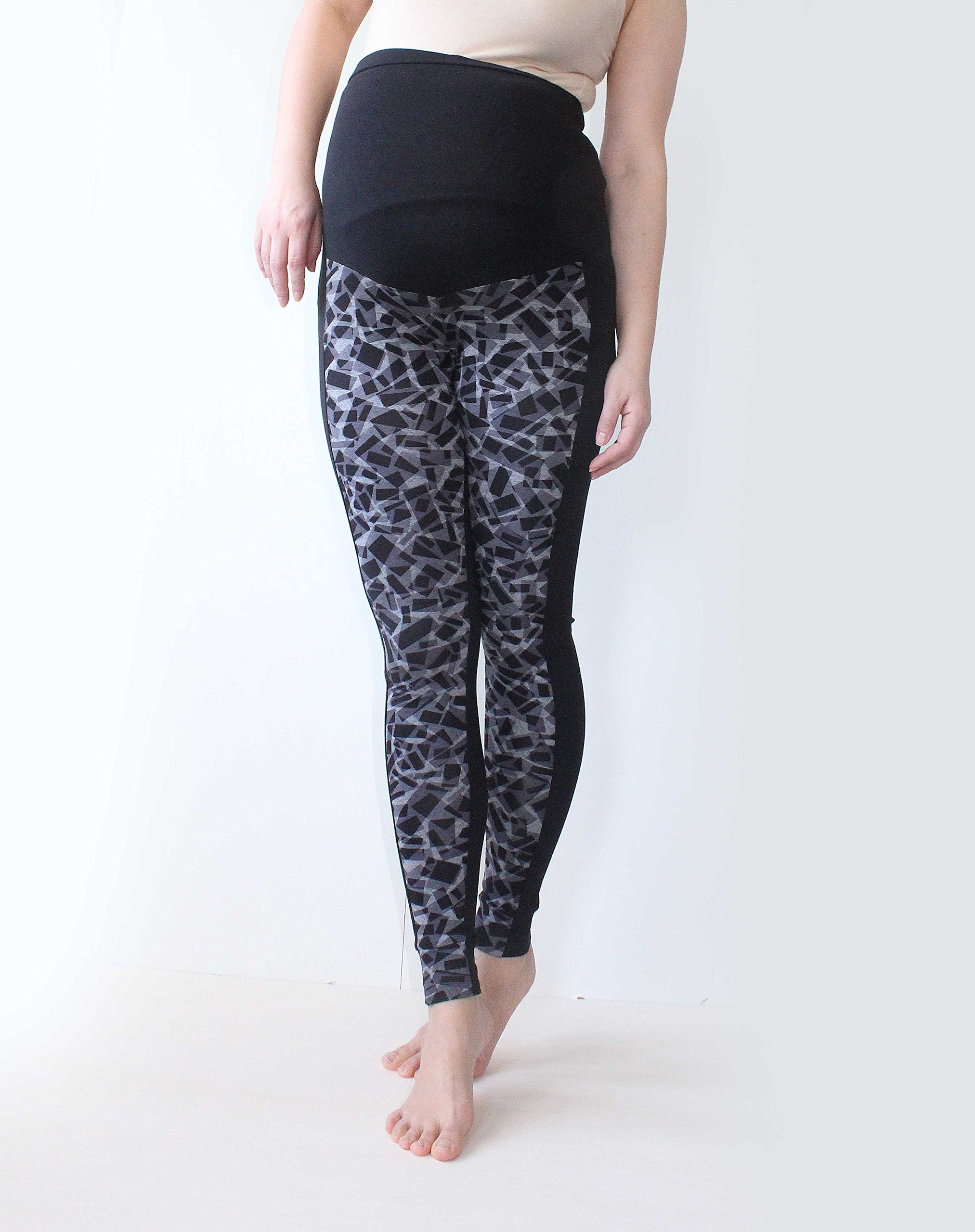Mirror Print Over Bump,Gray S, Aztec Galaxy Black No See Through Maternity Leggings Maternity Leggings