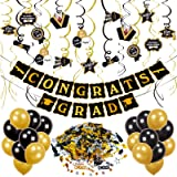 obqo Graduation Party Decorations Kit, Black and Gold Congrats Grad Banner Hanging Swirls Graduations Confetti Black and Gold