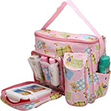 Nappy Diaper Bag Baby Carry Bags Mummy Mother Bag Multipurpose Multi Compartment by Indi Bargain (Pink)