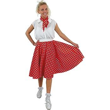 Jupe longue rouge à pois blancs pour adulte avec son foulard assorti style année  50. Ideal pour les représentations de danse. ( 36 40 ) cef4cc16df3a