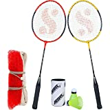 Silver's SB-100 Combo-6 (2 B/Rackets + 2 Pcs Plastic Shuttle + 1pc. Badminton Net Nylon) Red-Yellow