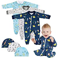 Lictin Baby Romper Pajamas - 3 Pack Cotton Long Sleeve Zipper Romper with 3 Hats, Baby Boys Sleepsuits Sleepwear for 0-3 Months Newborn