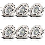 B.K.Licht LED-inbouwspots Dimmable Swivel Incl. 6 x 5,5W 230V GU10 IP23 Verlichtingspot LED-spot Plafondinbouwspot 6er Set 23