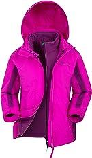 Mountain Warehouse Lightning 3-in-1-Jacke für Kinder - Wasserfester Allwetter - Kindermantel, Reißverschlusstaschen, mit Fleece & Abnehmbarer Kapuze, Regenjacke