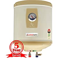 LONGWAY® Superb 25LTR 5 star Storage Water Heater With Temperature Meter, Stainless steel Body HD ISI Element & Capsule Type ss Tank( Ivory)